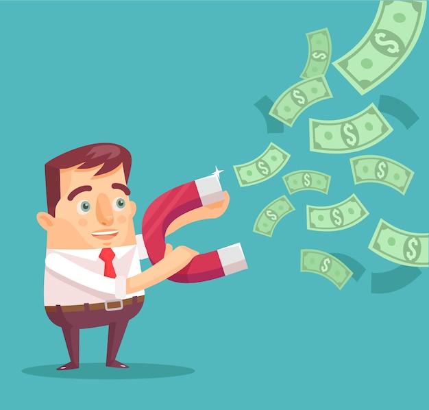 Empresário pega dinheiro com ilustração de ímã de dinheiro