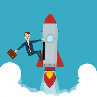 Empresário pegou foguete e voou para cima. uma mão segura o foguete, a outra maleta