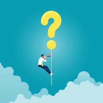 Empresário pendurando um balão de ponto de interrogação e segurando um telescópio em busca de uma resposta, encontrando uma solução e resolvendo problemas