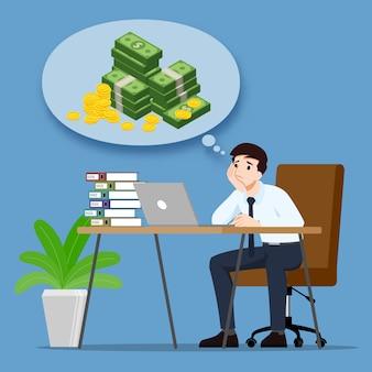 Empresário pensando ou sonhando com renda de lucro de dinheiro e quer ser rico.