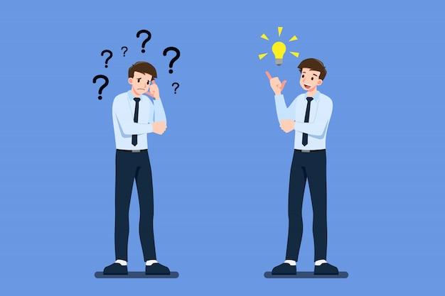 Empresário pensativo mostra o que eles pensam de maneira diferente.