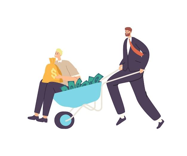 Empresário personagem empurrar carrinho de mão com dinheiro e homem segurando o saco com dólares. conceito de crescimento, riqueza e prosperidade do negócio. homens ricos, milionários, investidores. ilustração em vetor de desenho animado