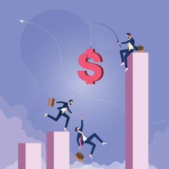 Empresário pescando dinheiro de cima do gráfico e executivos correndo atrás de moeda de dinheiro com anzol