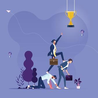 Empresário pisando no outro para o seu sucesso-vetor de conceito de negócio