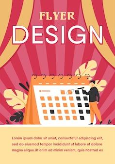 Empresário planejando eventos, prazos e agenda. modelo de folheto