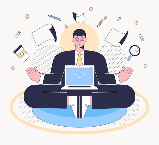 Empresário plano orgânico meditando