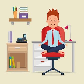 Empresário praticando ioga na cadeira do escritório