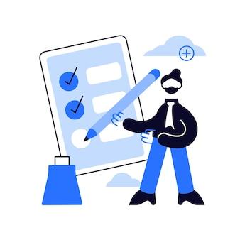 Empresário preenchendo lista de tarefas com ilustração a lápis