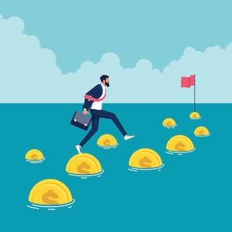 Empresário pula dinheiro para alcançar bandeira-alvo