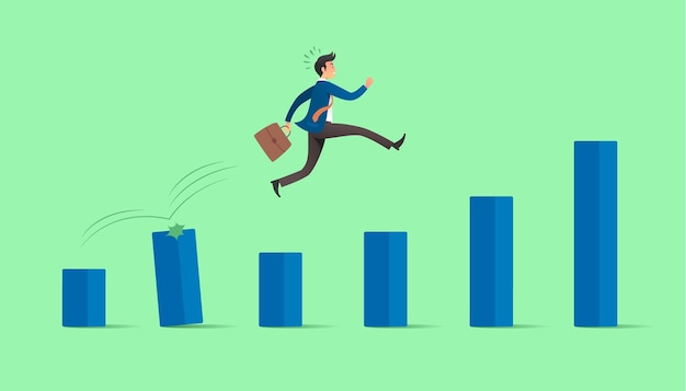 Empresário pula sobre gráfico crescente. conceito de crescimento do negócio.