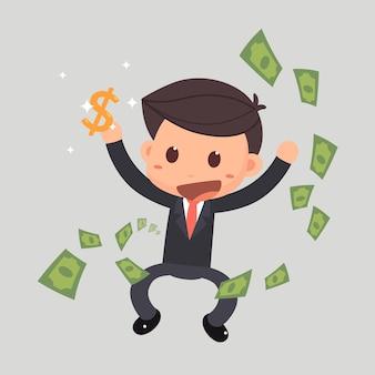 Empresário pulando com dinheiro.