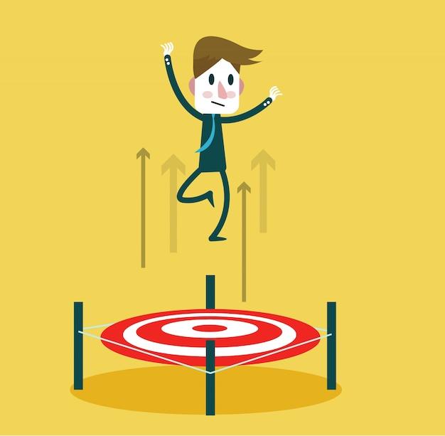Empresário pulando pela bullseye