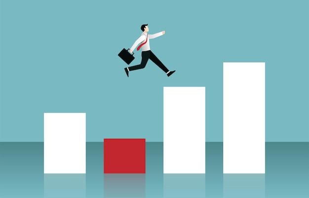 Empresário pulando sobre o conceito de gráfico de barras. ilustração de símbolo de negócios
