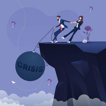 Empresário, puxando a bola de ferro grande e acorrentada à perna. conceito de crise e depressão de negócios