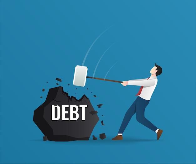 Empresário quebrando pedra com o conceito de dívida de texto