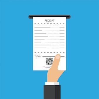 Empresário recebe um recibo. verificação financeira