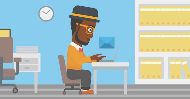 Empresário, receber ou enviar e-mail.