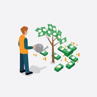 Empresário rega árvore do dinheiro