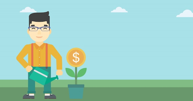 Empresário rega dinheiro flor