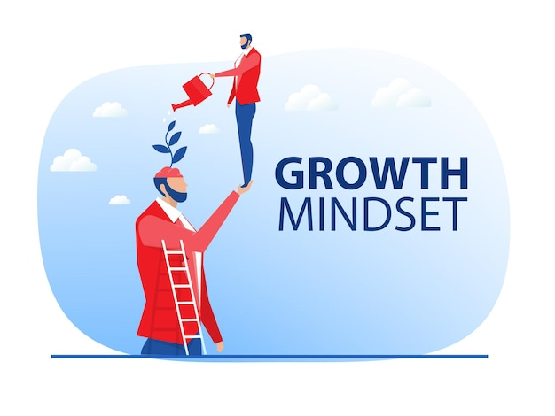 Empresário rega o próprio cérebro das plantas para o vetor do conceito de mentalidade de crescimento