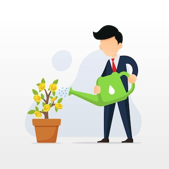 Empresário regando o conceito de projeto de planta de dinheiro
