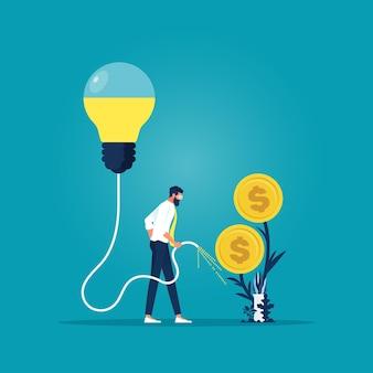 Empresário regando uma árvore de dinheiro com uma ideia