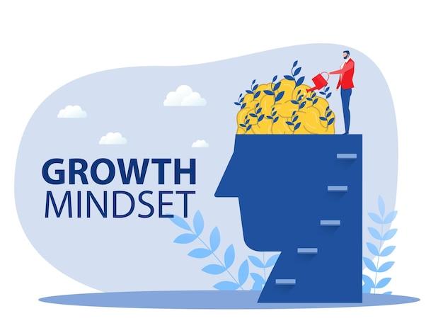 Empresário regar o cérebro das plantas para pensar para o vetor do conceito de mentalidade de crescimento