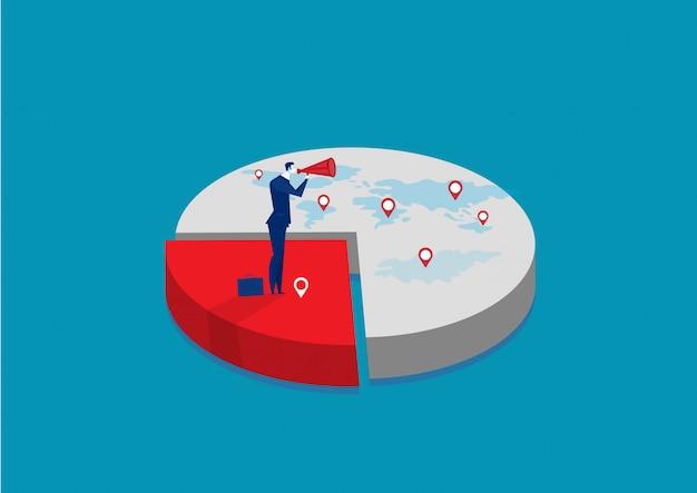 Empresário relacionado a compartilhar mercado. infográfico de negócios parte do mercado. conceito de negócio de quota de mercado.