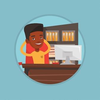 Empresário relaxante em ilustração vetorial de escritório
