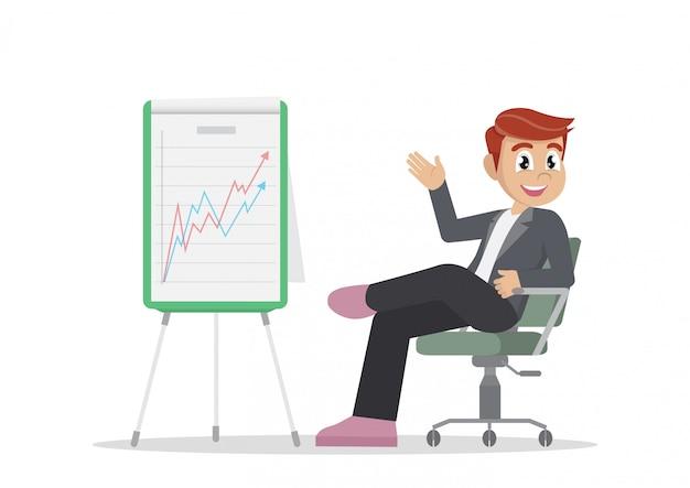 Empresário relaxante em sua cadeira com o gráfico a crescer.