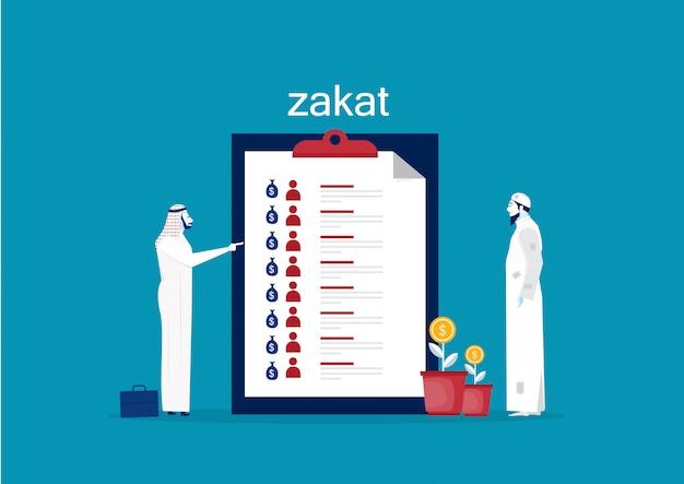 Empresário reunião sobre zakat menage a bordo do vetor