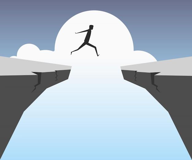 Empresário saltando sobre o abismo