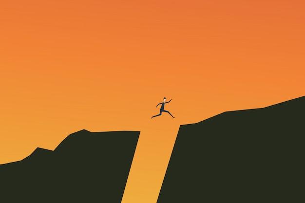 Empresário saltando sobre o conceito de vetor de abismo.