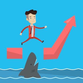 Empresário, saltando sobre o oceano com tubarão.