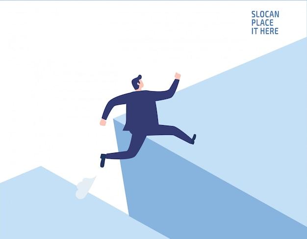 Empresário saltando sobre risco de negócio de lacuna