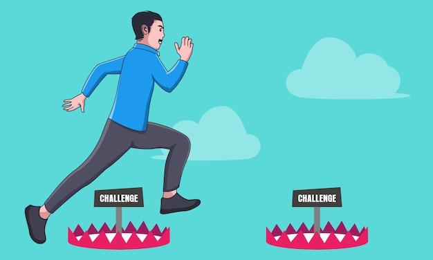 Empresário saltar sobre o desafio