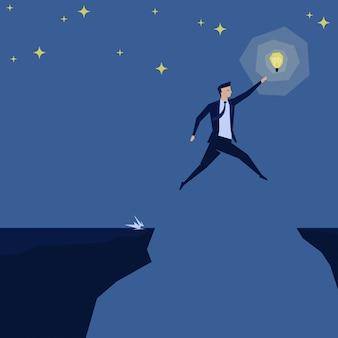 Empresário saltar sobre o fosso