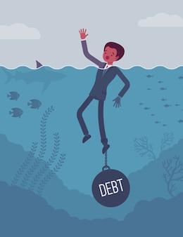 Empresário se afogando acorrentado com um peso da dívida