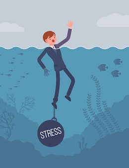 Empresário se afogando acorrentado com um peso stress