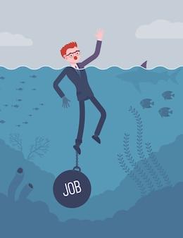 Empresário se afogando acorrentado com um trabalho de peso
