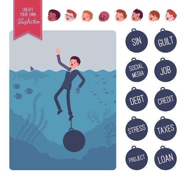 Empresário se afogando com um conjunto de criação de peso