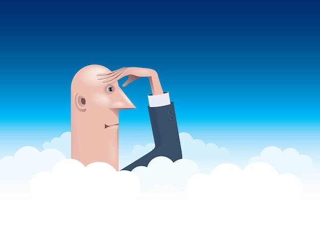 Empresário se elevando acima das nuvens, olhando para longe