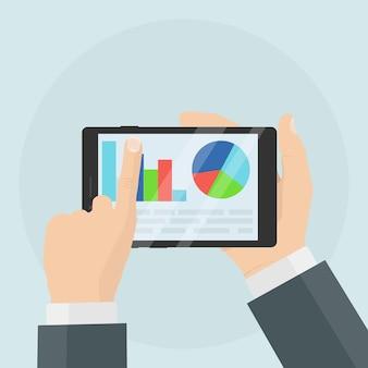 Empresário segura tablet com dados estatísticos apresentados na forma de gráficos digitais, tabelas