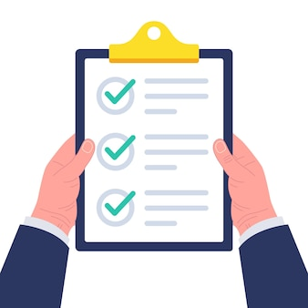 Empresário segurando a área de transferência com a lista de verificação. conceito de pesquisa, questionário, lista de tarefas ou acordo. ilustração.