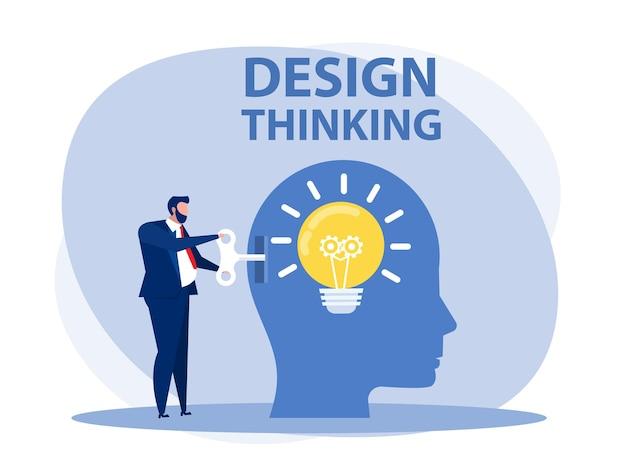 Empresário segurando a chave desbloquear uma nova ideia ou ilustrador de vetor de conceito de design thinking.
