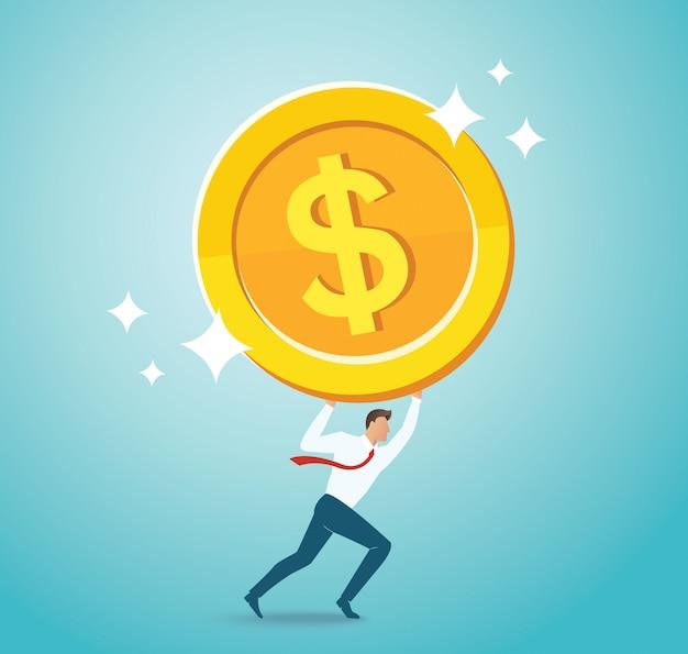 Empresário segurando a moeda de ouro