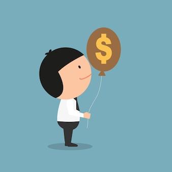 Empresário segurando dinheiro cifrão balão. ilustração