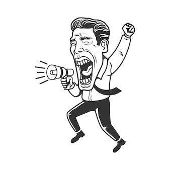Empresário segurando megafone - estamos contratando ilustração. caricatura em preto e branco.