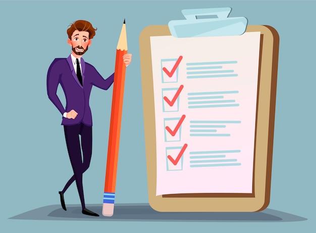 Empresário segurando o lápis na grande lista de verificação completa