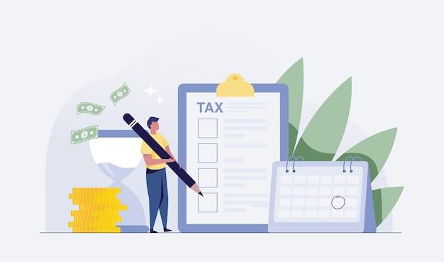 Empresário segurando o lápis na lista de verificação fiscal completa. ilustração vetorial